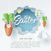 Paper art of Bunny in carrot and Easter eggs, Happy Easter celebration concept, vector art and illustration.