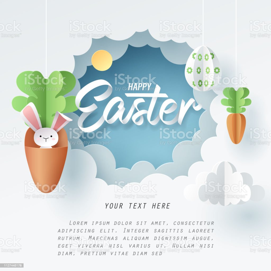 Paper art of Bunny in carrot and Easter eggs, Happy Easter celebration concept vector art illustration