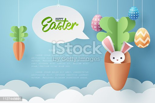 istock Paper art of Bunny in carrot and Easter eggs, Happy Easter celebration concept. 1127445691