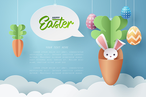 Paper art of Bunny in carrot and Easter eggs, Happy Easter celebration concept.