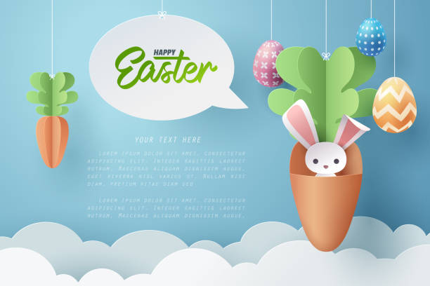 Paper art of Bunny in carrot and Easter eggs, Happy Easter celebration concept. Paper art of Bunny in carrot and Easter eggs, Happy Easter celebration concept, vector art and illustration. easter stock illustrations