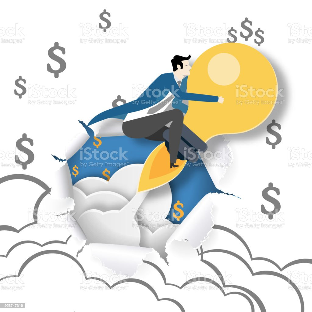 Paper art of business man riding lightbulb flying through paper of...