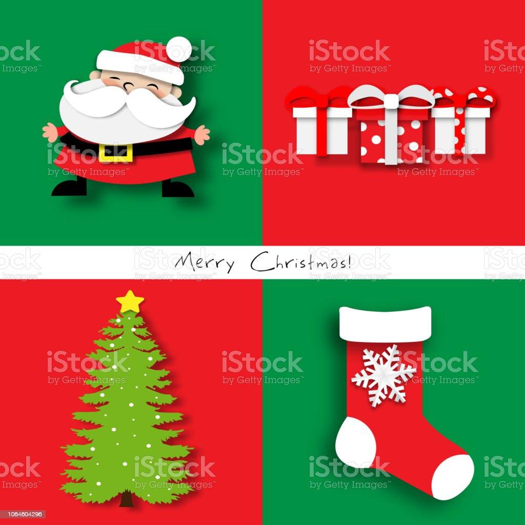 paper art of christmas card set with santa claus christmas tree christmas sock and - Santa Claus Christmas Tree