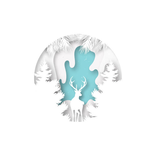 Paper art of deer and winter season landscape and merry christmas concept. vector art illustration