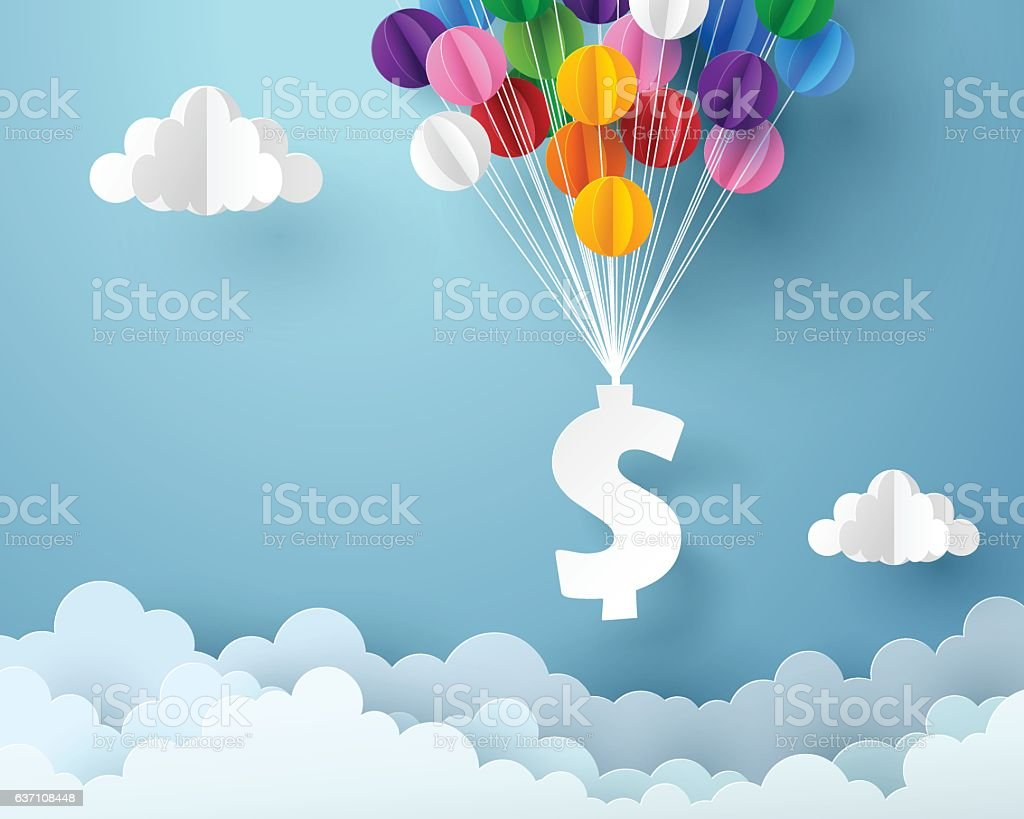 Paper art of dollar sign hanging with colorful balloon vector art illustration