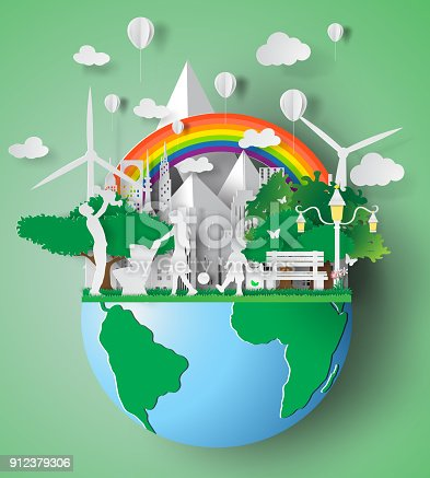 istock Paper art of eco friendly family concept and earth with environment day. vector illustration 912379306