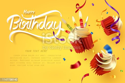Paper art of falling cupcake, Happy birthday celebrate, vector art and illustration.