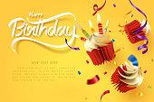 落下カップケーキのペーパーアート、幸せな誕生日のお祝い