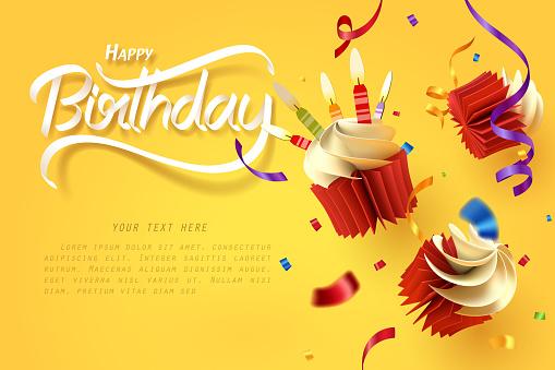Paper Art Of Falling Cupcake Happy Birthday Celebrate - Stockowe grafiki wektorowe i więcej obrazów Ciasto
