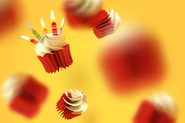 Paper art of falling cupcake, Happy birthday celebrate Paper art of falling cupcake, Happy birthday celebrate, vector art and illustration. cake backgrounds stock illustrations