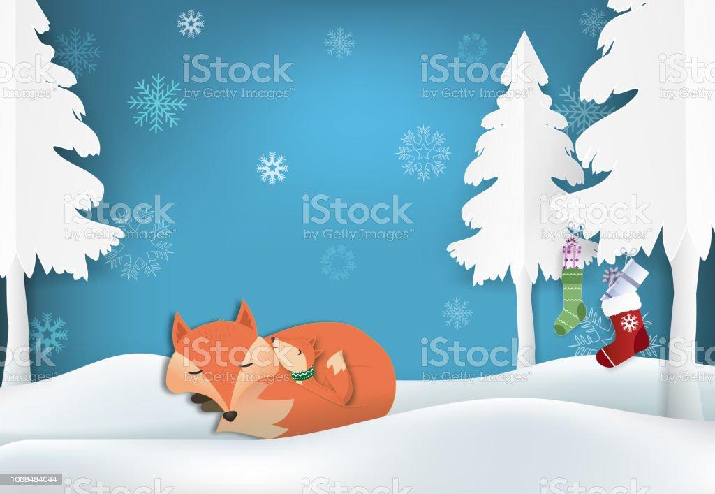 Paper art of Fox's family and snowflake illustration vector art illustration