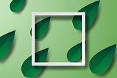 Paper art of  Frame with green leaf, banners,white,vector