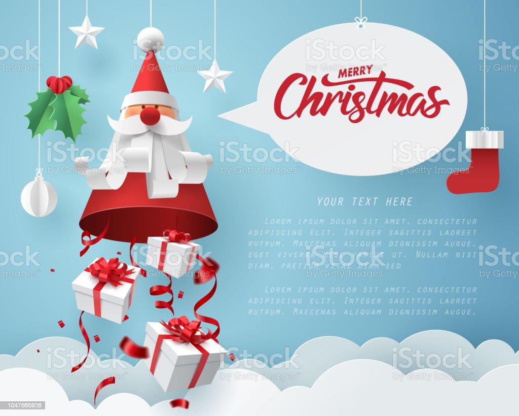 Papierkunst Geschenkbox Fallen Von Santa Claus Frohe Weihnachten Und ...