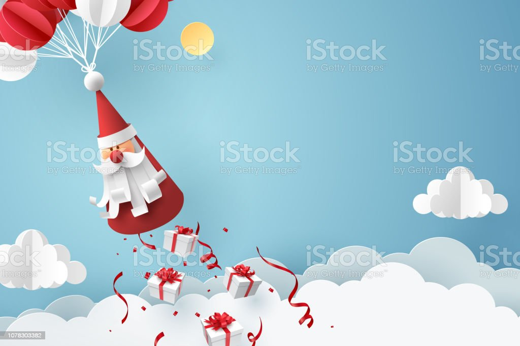 Paper art of Gift box dropping from Santa Claus, merry Christmas and...