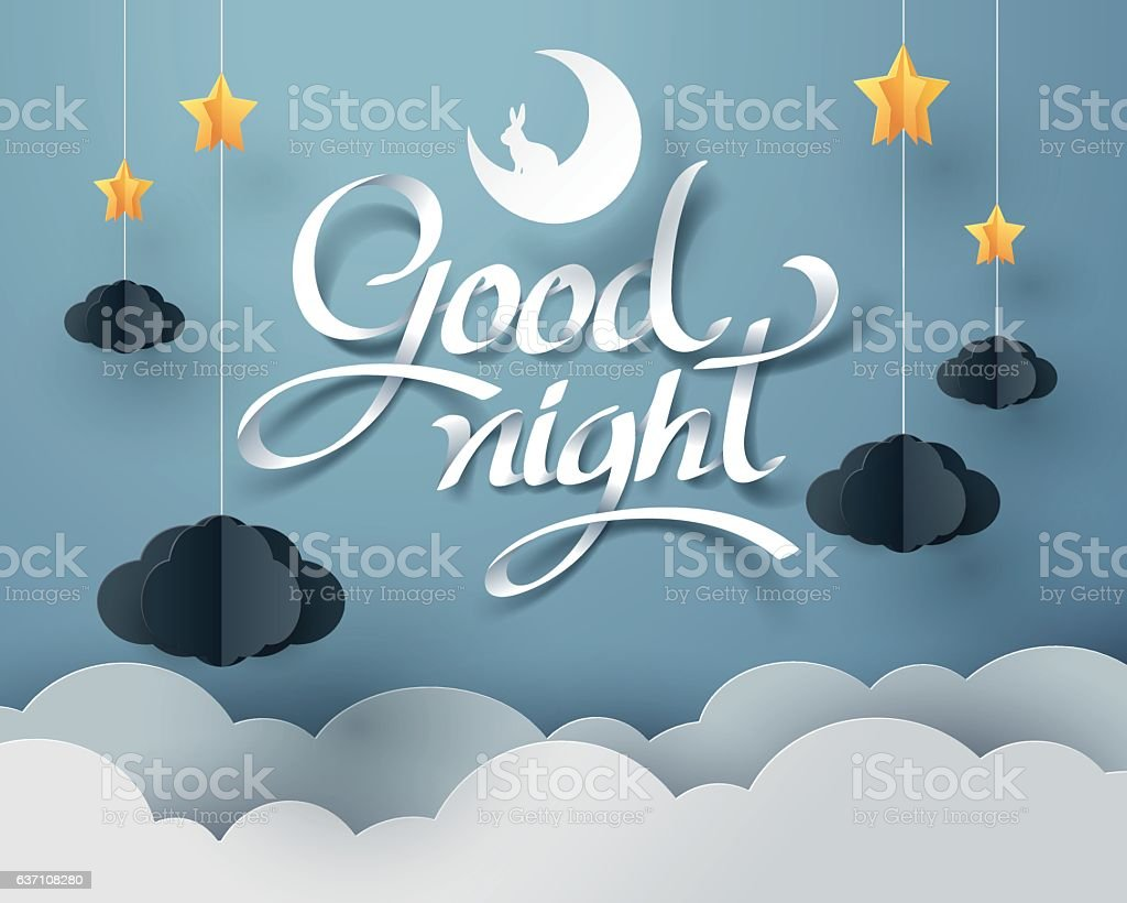 Paper art of Goodnight and sweet dream vector art illustration