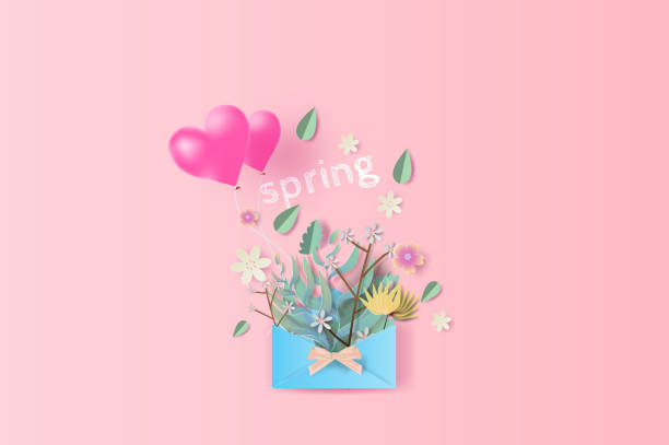 Paper art of graphic design bouquet with springtime season text.Paper letters and packages of Bouquet flowers,leaf and balloon heart for text placed on pink pastel color backgroun.vector,illustration. vector art illustration