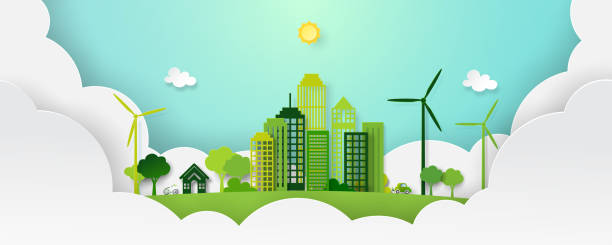 Paper art of green eco city and nature landscape. vector art illustration
