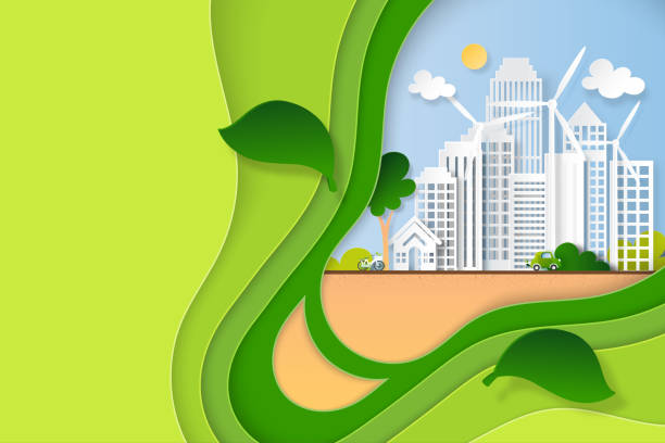 Paper art of green eco city and renewable energy for sustainable resource. vector art illustration