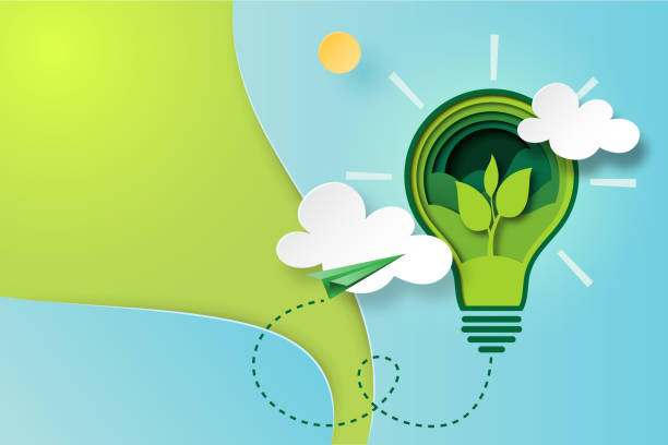 illustrations, cliparts, dessins animés et icônes de art du papier de l'écologie verte et économiser de l'énergie pour le concept de l'environnement. - développement durable