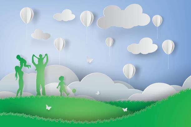 Paper art of Green happy family having fun playing in the field vector art illustration