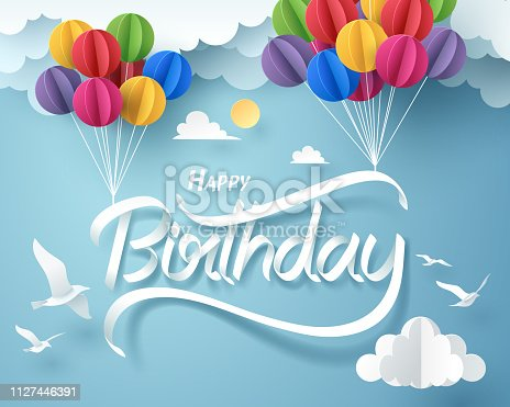 Paper art of happy birthday calligraphy hand lettering hanging with colorful balloon, vector art and illustration.