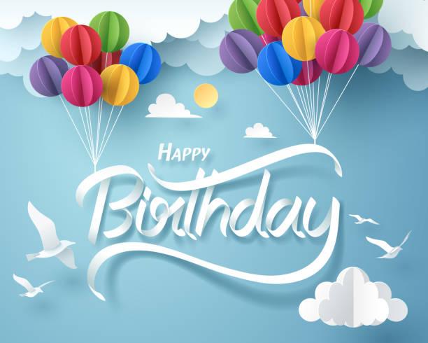 ilustraciones, imágenes clip art, dibujos animados e iconos de stock de arte de papel de mano de caligrafía feliz cumpleaños letras colgantes con globo de colores - cumpleaños
