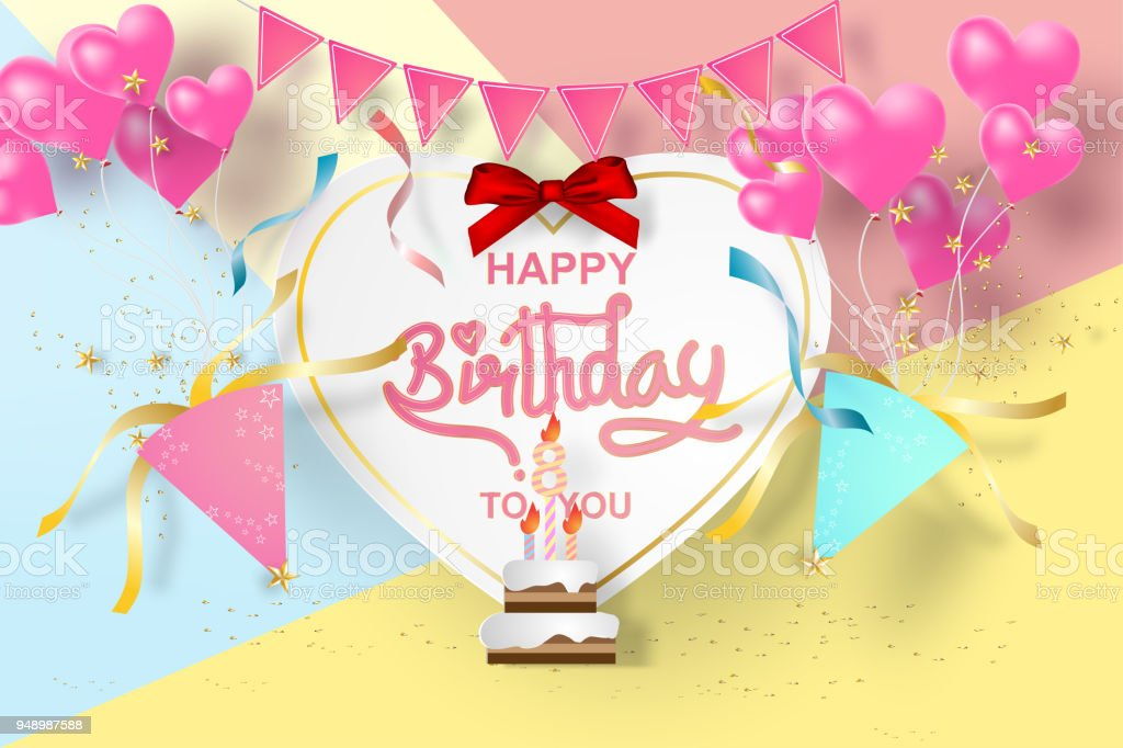 Paper Art Of Happy Birthday Elements Background Vector Design For