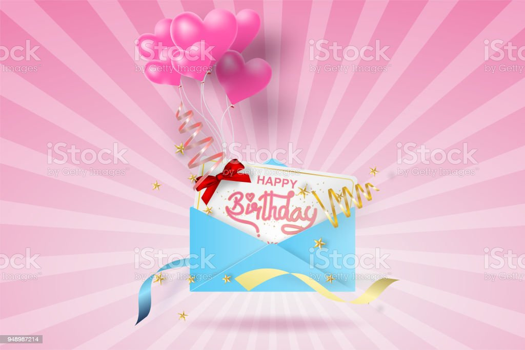 Paper art of happy birthday elements with mail background vector