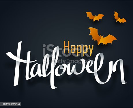 Paper art of happy Halloween, hand drawn creative calligraphy, vector art and illustration.