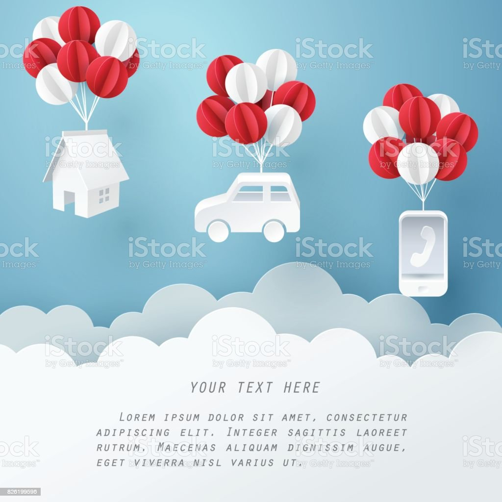 Paper art of house, car and mobile phone hanging with balloon, business and asset management concept and paper art idea vector art illustration