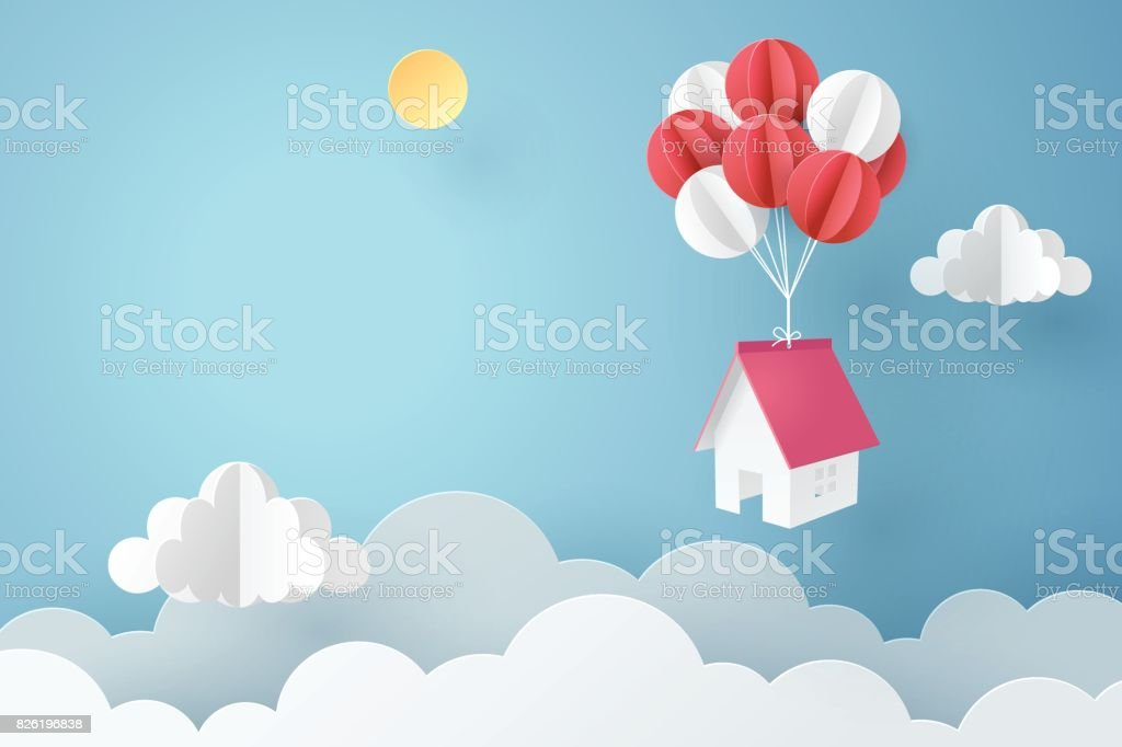 Paper art of house hanging with colorful balloon, business concept and asset management idea vector art illustration
