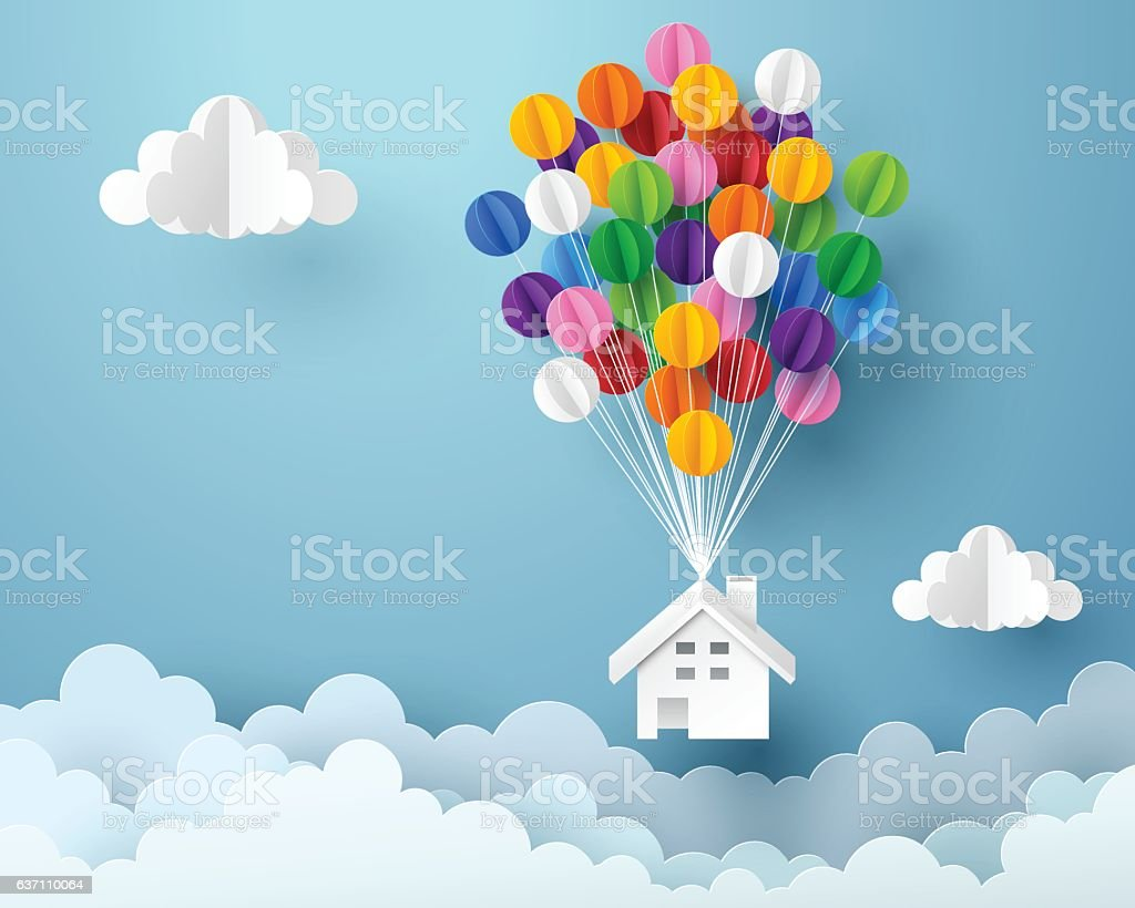 Paper art of house hanging with colorful balloon vector art illustration