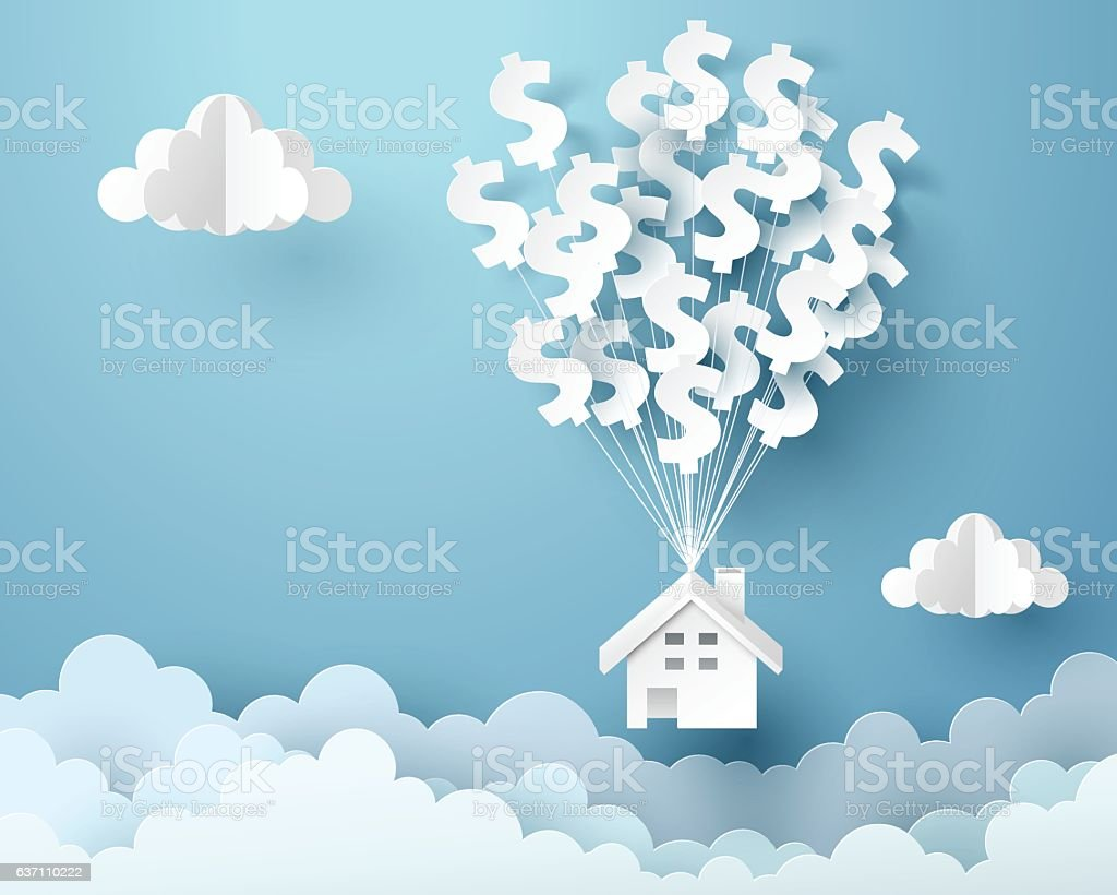 Paper art of house hanging with dollar sign balloon vector art illustration