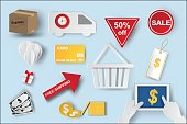 Paper art of  icons of e-commerce symbols, internet shopping elements and objects in isolate blue color background