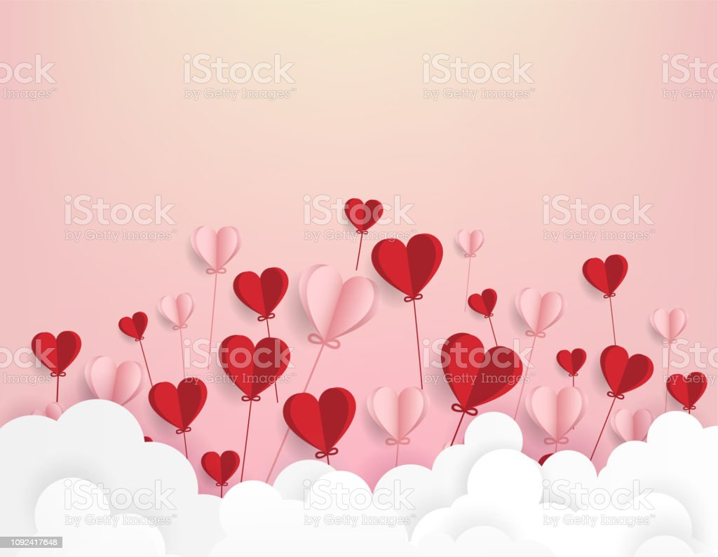 Paper art of illustration love and valentine day,Origami made hot air...