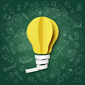 Paper art of light bulb creative doodle icons blackboard, vector art and illustration.