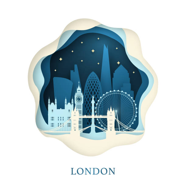 Paper art of London. Origami concept. Night city with stars. Vector illustration. Paper art of London. Origami concept. Night city with stars. Vector illustration. london stock illustrations
