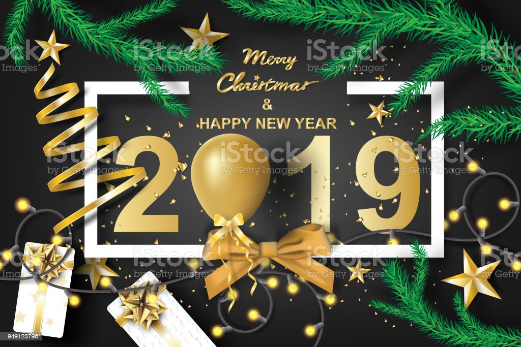 Paper Art Of Merry Christmas And Happy New Year 2019 With Black Tone