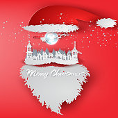 Paper art of Merry Christmas day with Santa Claus hat concept background,vector