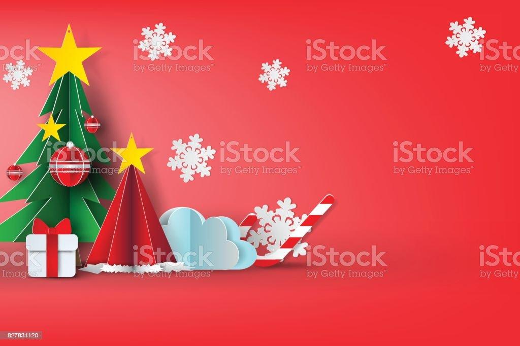 Papierkunst Frohe Weihnachten Himmel background.vector,red,sweet,illustration Design – Vektorgrafik