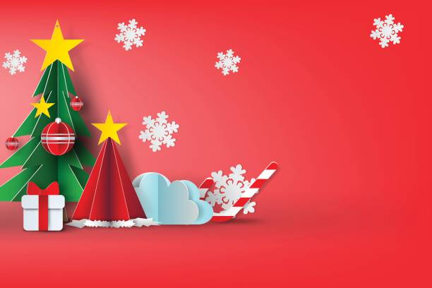 Papier d'art de conception de background.vector,red,sweet,illustration ciel joyeux Noël - Illustration vectorielle