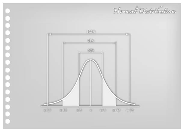 Paper Art of Normal Distribution Chart or Gaussian Bell Curve vector art illustration