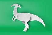 paper art of Parasaurolophus dinosour on green background vector,isolate,mascot