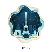 Paper art of Paris. Origami concept. Night city with stars. Vector illustration.