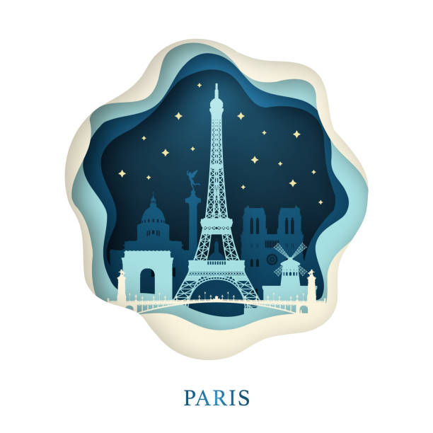 illustrations, cliparts, dessins animés et icônes de papier d'art de paris. concept de l'origami. ville de nuit avec des étoiles. illustration vectorielle. - paris
