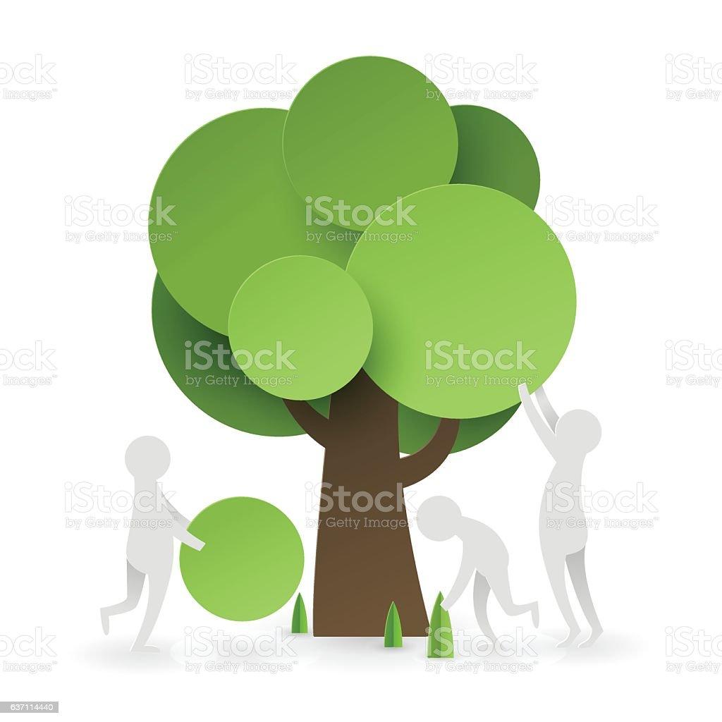 Paper art of  people try to set up tree - ilustração de arte em vetor