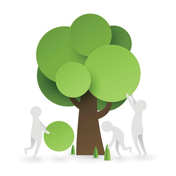 paper art of  people try to set up tree - umweltkonzept stock-grafiken, -clipart, -cartoons und -symbole