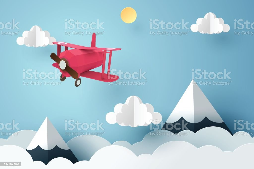 Paper art of pink plane flying in the sky, origami and travel day concept vector art illustration