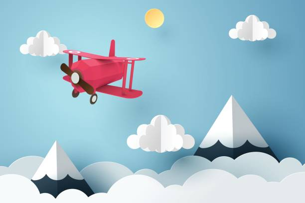 Paper art of pink plane flying in the sky, origami and travel day concept Paper art of pink plane flying in the sky, origami and travel day concept, vector art and illustration. paper craft stock illustrations