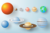 Paper art of Planet  with Solar system background vector illustration